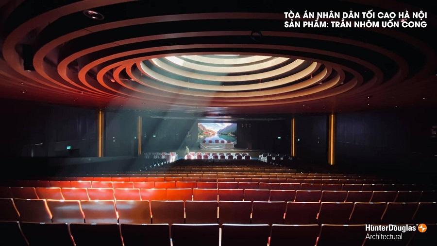 trần nhôm uốn cong - công trình tòa án nhân dân Hà Nội